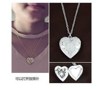 New Arrival Valentine Lover Jewelry Heart Photo Memory Floating Locket Necklace Pendant Valentine's Day Gift For Women Girl(China)