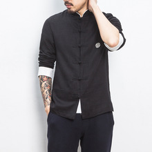 Chinese Tops Men Cotton Linen Long-Sleeve Shirt