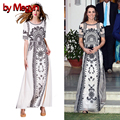 by Megyn Princess Kate Middleton Dress Handmade Crystal Beedings Appliques Dress Floral Print Maxi Long Dress Vestidos LD432