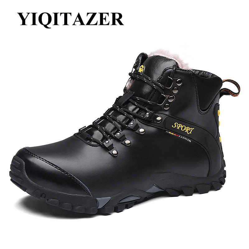 YIQITAZER Army Sneakers for Platform Moccasins First Layer Winter Men Boots Genuine Leather Ankle Boots Leather Male Shoes Adult