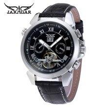 2017 JARAGAR Men's Black Luxury Men's Auto Day/Week/24Hours Mechanical Tourbillon Wrist Watch Gift Box Free Ship
