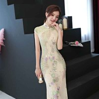 New Sexy Lace Embroidery Cheongsam Chinese Traditional Dress Sleeveless Female High Neck Qipao Unique Party Evening Dresses