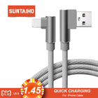 Suntaiho 90 degree Elbow for Lightning cable for iphone XS MAX for iphone cable USB Charger Cable Sync For iPhone XR 7 8 plus 5s