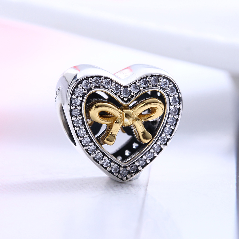 100% 925 Sterling Silver Fit Original Pandora Bracelet Bound by Love Heart Charm CZ DIY Charm Beads for Jewelry Making