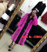 Women real mink fur coat winter female overcoat natural mink fur warm long rose red o neck outerwear