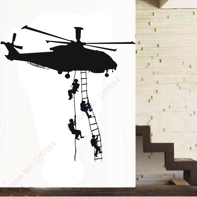 Free shipping helicopter army sticker adhesive vinly wall art for boys bedroom huge marines wall stickers