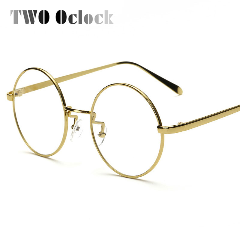 TWO Oclock Vintage Big Round Glasses Frame For Women Men Circle Gold ...