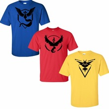 2016 New Arrive Pokemon Go Logo T-Shirt Team Red Valor Yellow Instinct Blue Mystic Cosplay T Shirt Tees