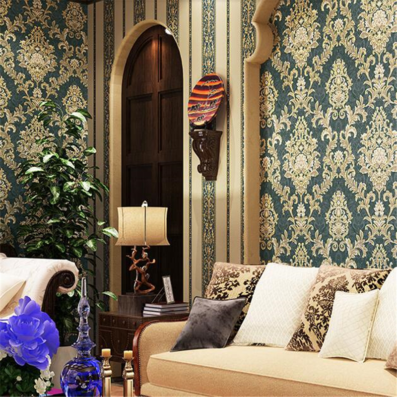 beibehang Dark green Wall paper roll papel de parede 3D PVC Embossed Wallpaper for Living room Bedroom wallpaper for walls 3 d
