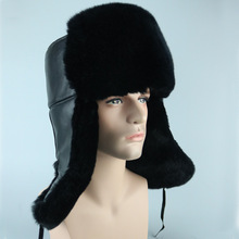 LFM-02 Rex rabbit Fur Hat male Genuine leather warmth sheepskin hat