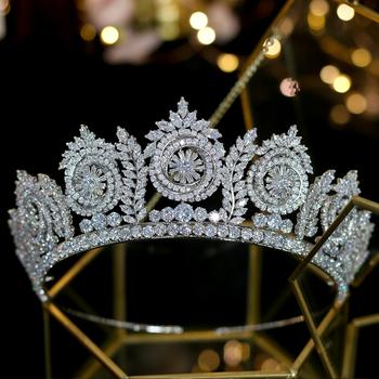 2020 nowy europejskie wesele akcesoria do włosów korona panny młodej dodatki do sukni ślubnej diadem tanie i dobre opinie ASNORA CN (pochodzenie) Miedzi Moda Cyrkonia Tiaras Kobiety Archiwalne Hairwear A00302 ROUND Wedding Tiaras Bridal Tiara