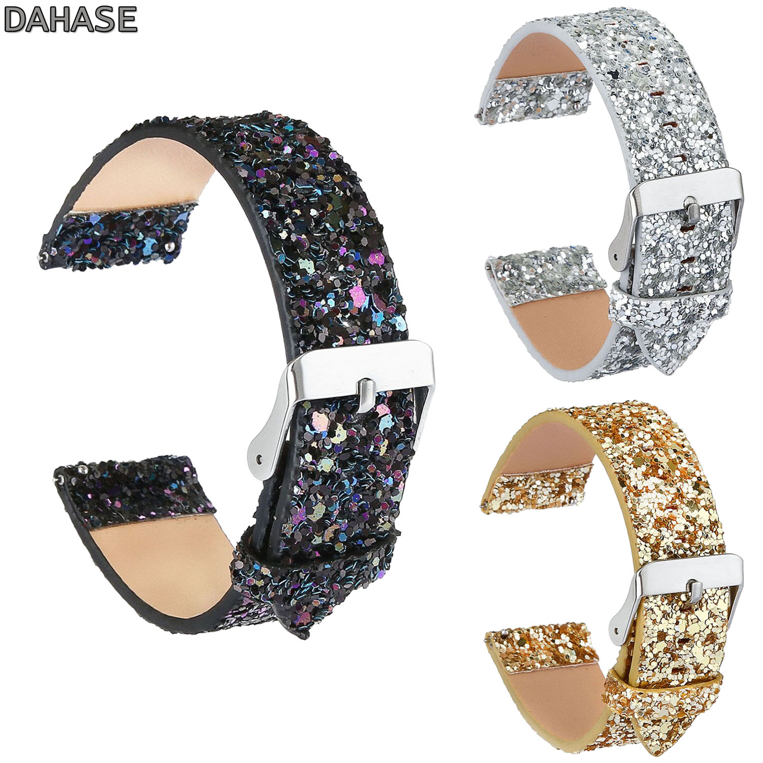Galleria fotografica DAHASE Bling Christmas Shiny Glitter Leather Watchband for Samsung Gear S3 Frontier Strap Bracelet for Gear S3 Classic Band 22mm