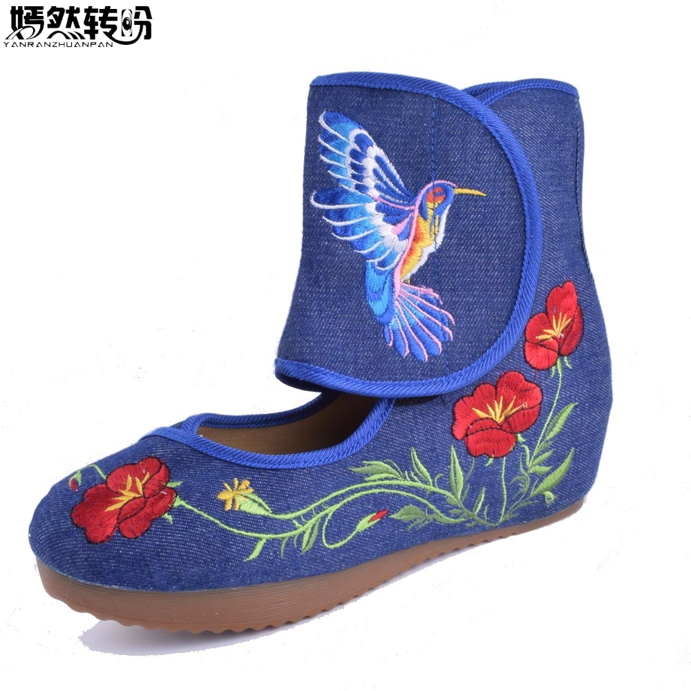 цена на Women Boots Chinese Bird Embroidered Cloth Old Beijing Women's Singles Shoes Boots Wedges Dance Shoes 5cm Heel