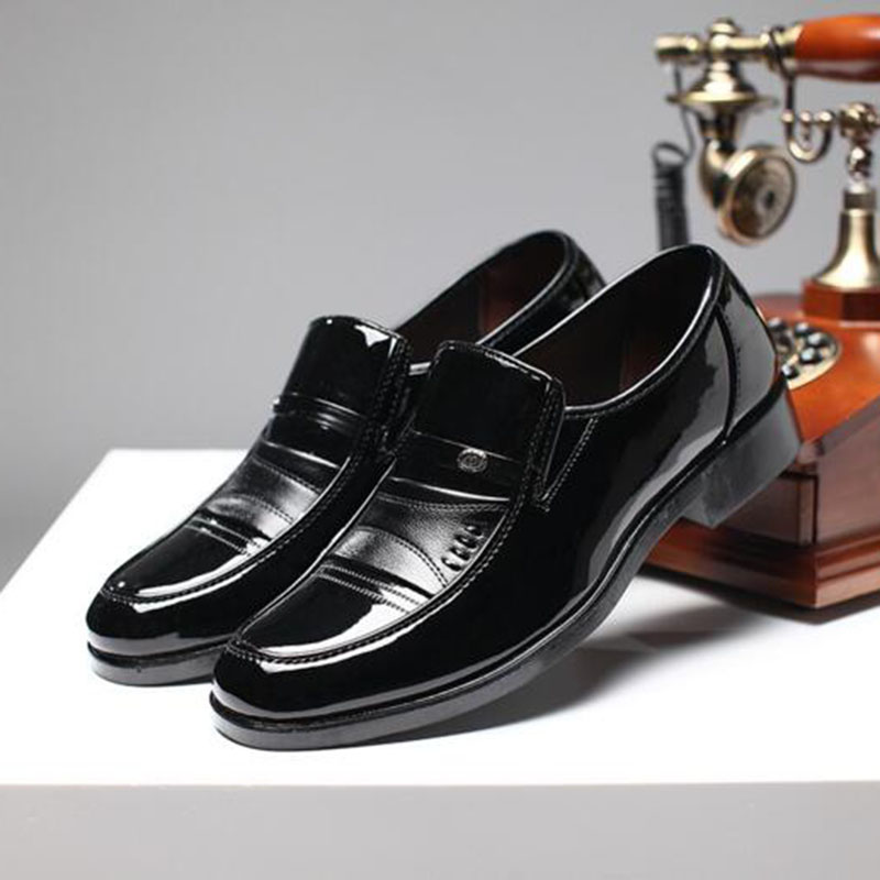 2018 Business Work Men Loafers Single Shoes Genuine Leather Slip on Non slip Low Help Breathable Leather Dress Shoes Size 38 44 in Formal Shoes from Shoes