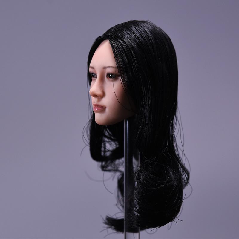 1/6 Asian Beauty Female Black Long Hair Head Sculpt For 12'' Suntan Bodies black beauty