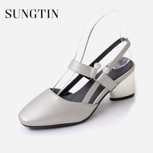 Sungtin 2018 New Elegant Slingback High Heels Women Block Heel Sandals Chic  Square Toe Summer Sandalias 7a9623806b83