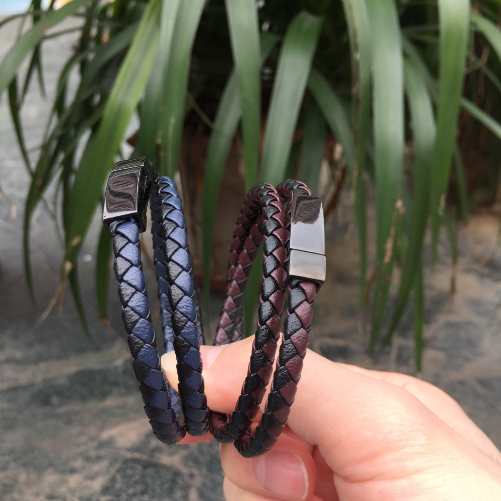 Prix pour Nouvelle arrivée 1 PC Double boucle en cuir Bracelets mode en acier inoxydable Bracelet et Bracelets pour femmes hommes bijoux livraison gratuite