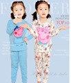 2016 porco cor de rosa da marca meninos meninas pijamas de algodão Conjuntos de Roupas de bebê crianças das crianças dos desenhos animados pijamas sleepwear criança Treino cão