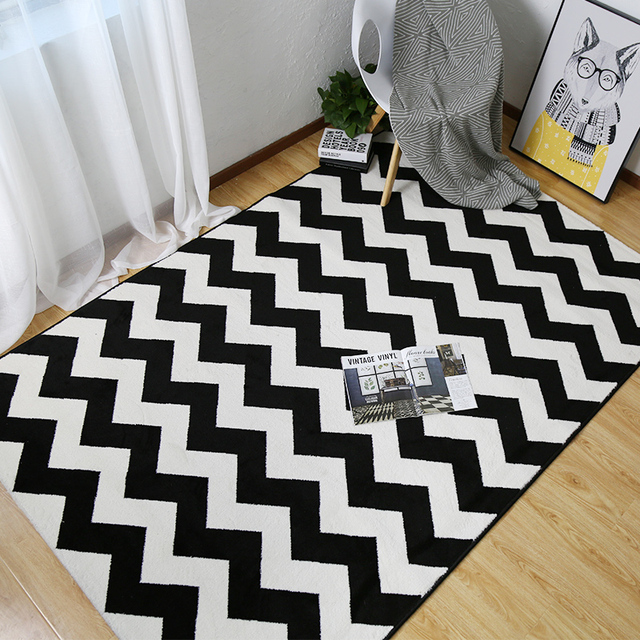 Winlife North European Style Carpets Black And White Striped Rugs