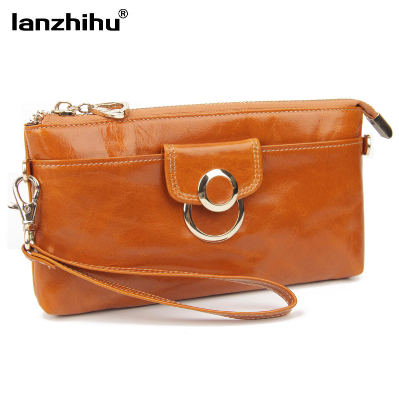 Fashion Genuine Leather Wallet for Women Long Zipper Female Clutch Purse Cellphone Bag Large Money Bag with Shoulder Chain image