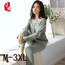 Women Cotton Long Pajamas Plus Size XXXL Autumn Winter Sleepwear Women Pajamas Sets Round Neck Soft Homewear Suit Pyjama Female