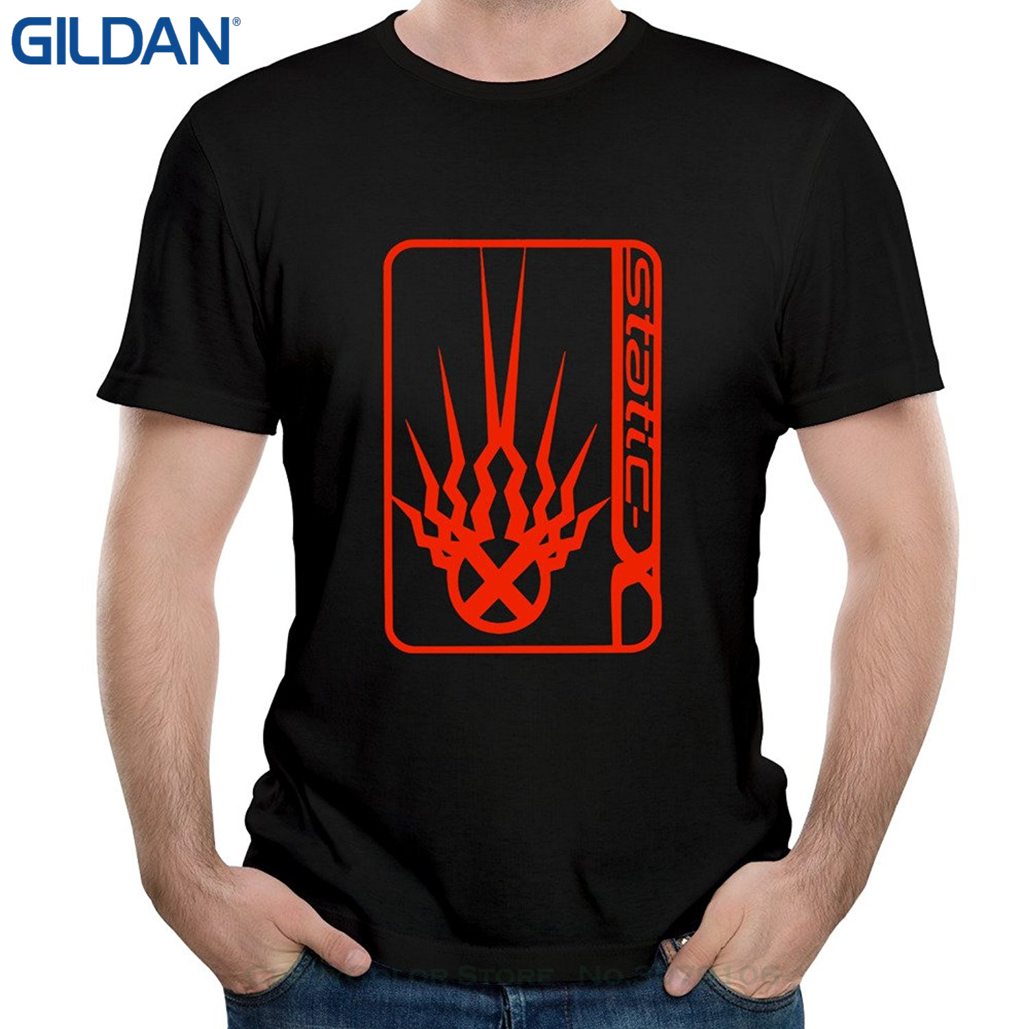 GILDAN Short Sleeve Round Neck T Shirt Promotion Mens Static X Nu Metal Push It Short Sl ...