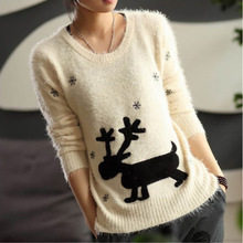 Fashion New Casual Christmas Pullovers Women Snowflake Mohair Sweater Animal Knitwear Tops KD1634