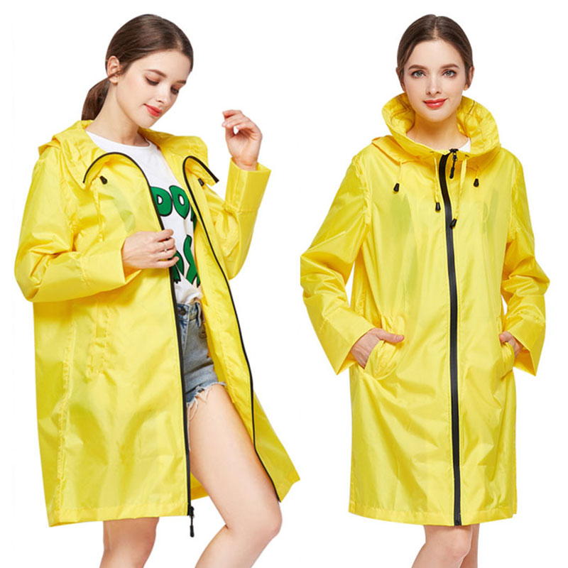 Yuding Womens Raincoat Impermeable Girls Adults Outdoors Ladies Poncho with Zipper Hooded