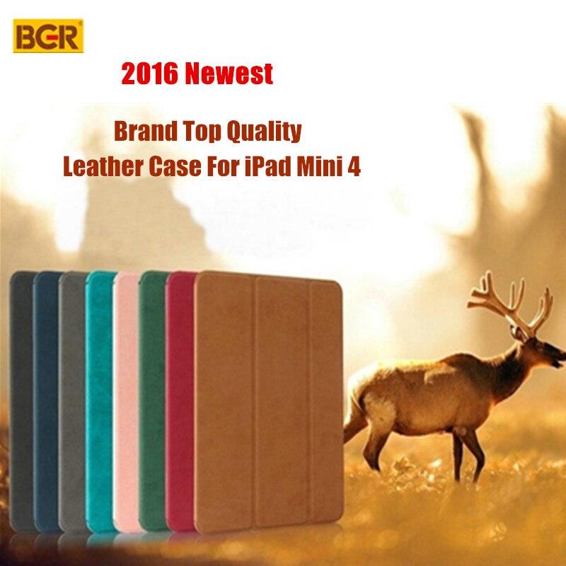 For iPad Mini 4 Smart Case 100% Original BGR Ultra-thin Folding Slim Flip PU Leather Case For iPad Mini 4 With Sleep/Wake up