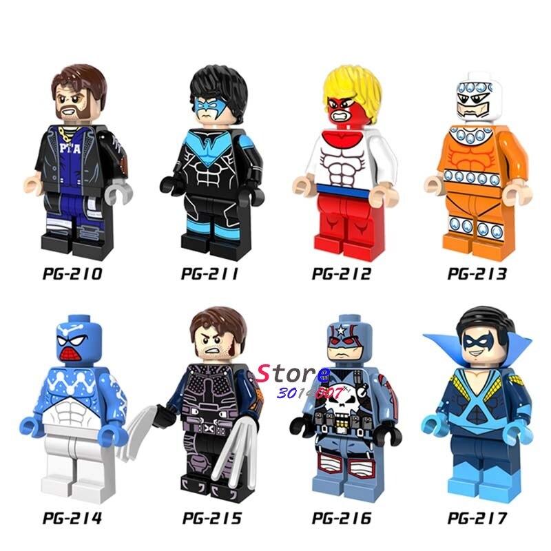8pcs super heroes Marvel Captain boomerang Punisher ninghwing space spiderman model kits building blocks toys for children