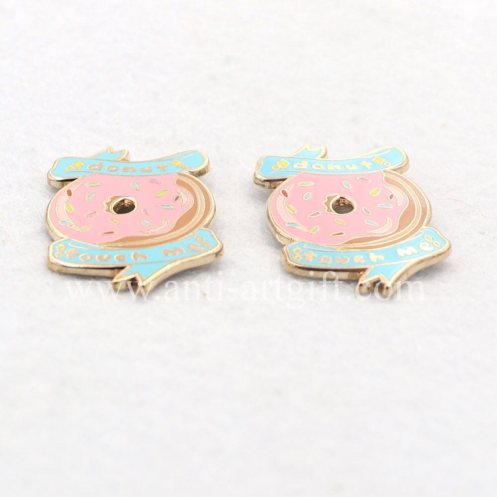 """2 шт. металлический значок из цинкового сплава 1,2"""" позолоченный пончик прекрасный контактный жесткий значок с эмалью"""
