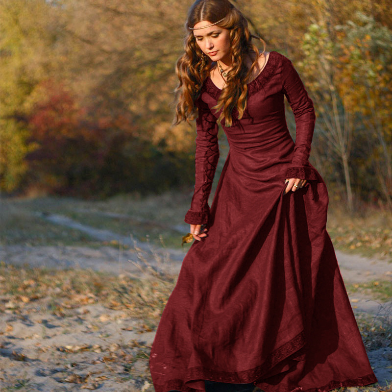 Raisvern красное винтажное средневековое элегантное женское платье со шнуровкой, рукав-лепесток, женские макси платья, ретро Vestidos Для вечерней ...