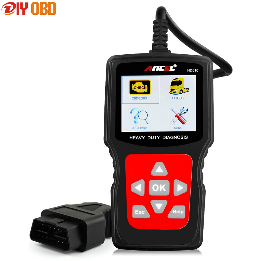 Ancel HD510 Universal OBD2 Car + Truck Scanner Heavy Duty Diesel Gasoline Auto Diagnostic Reader Tool for Volvo Renault HD510 аксессуары для бытовой техники