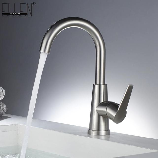 Stainless Steel Bathroom Sink Faucet Single Hole Brushed Nickel Swivel Basin Hot And Cold Water