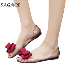 SAGACE Shoes Women PVC Flat sandals Bownot Transparent Jelly beach sandals 2019 summer ladies sandals Non-slip casual shoes