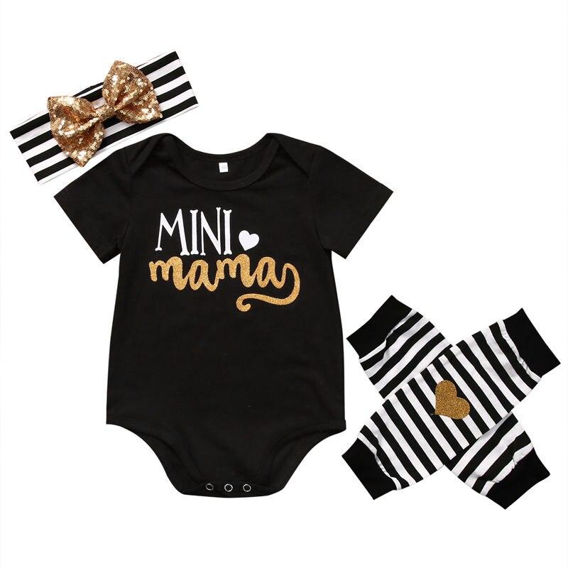 Mini Mama Pasgeboren Baby Brief Bodysuit Kleding Set Baby Meisjes Bodysuit + Streep Beenwarmers + Hoofdband Outfits Kleding 100% Origineel