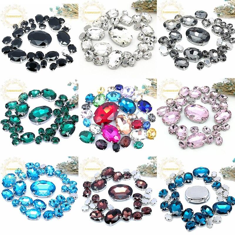5 GRÖßEN 30PCS Freies verschiffen! Mix oval form größe Glas Kristall nähen auf strass mit silbrig klaue Diy hochzeit kleid dekoration