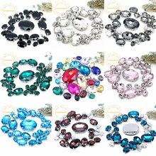 ¡5 tamaños 30 Uds envío gratis! Mezcla de diamantes de imitación de cristal para coser de tamaño ovalado con garra plateada Diy decoración de ropa de boda