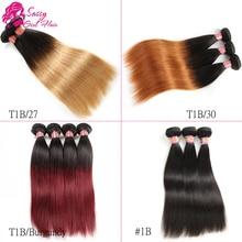 Burgundy Ombre Brazilian Hair Straight Human Hair 7a Honey Blonde Virgin Brazilian Hair Weave 4 Bundles