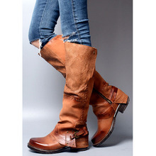 Mikishyda Low Heels Women Winter Boots Cowboy Spring Fall Knee High Chunky Genuine Leather Casual Riding Booties