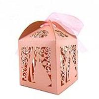 100pcs Couple Design Luxury Lase Cut Wedding Sweets Candy Gift Favour Boxes With Ribbon Table Decorations