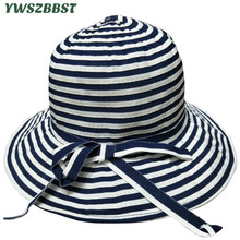купить Striped Summer Baby Girl Hat Bowknot Children Sun Hat Cotton Baby Bucket Caps Autumn Women Sun Cap Girls Lady Brim Beach Hats дешево