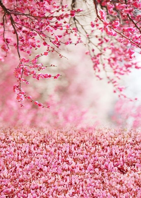 Toile de fond de photographie de champ de fleur rose de rêve lavable personnalisé pour le mariage photo studio portrait arrière-plan S-982