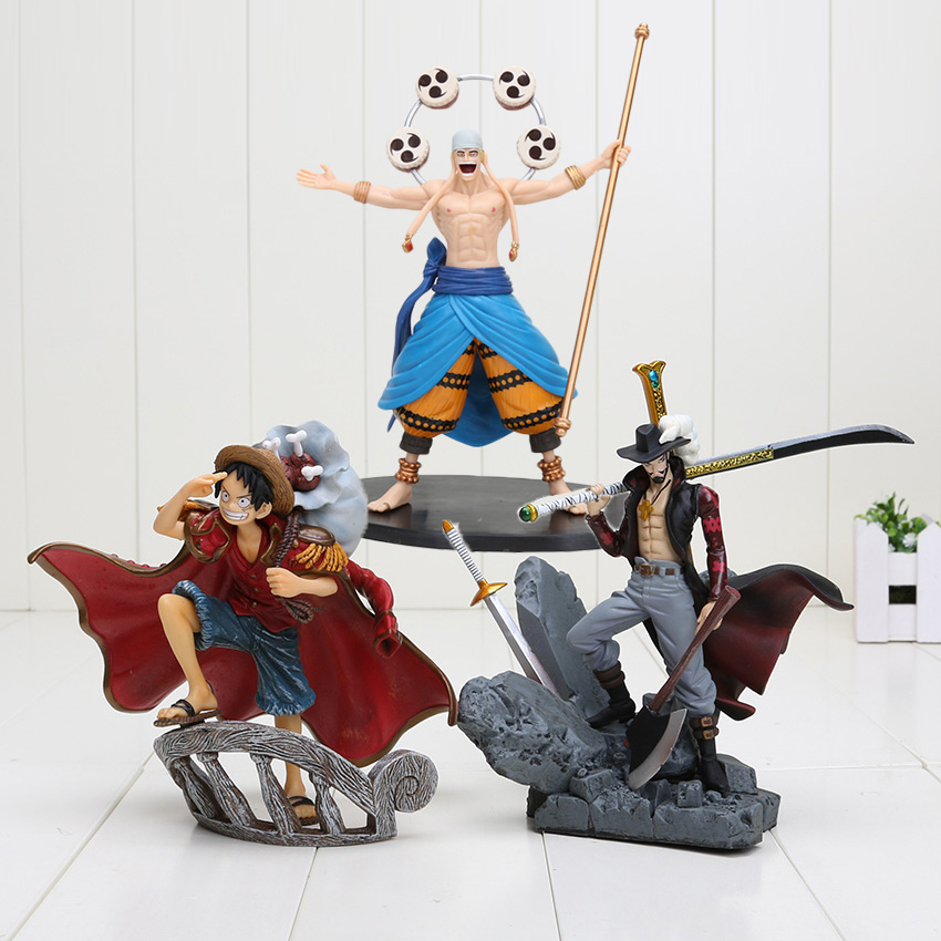 15cm Anime <font><b>One</b></font> <font><b>Piece</b></font> Dracule Mihawk <font><b>luffy</b></font> Enel PVC Action Figure Collection Toy image