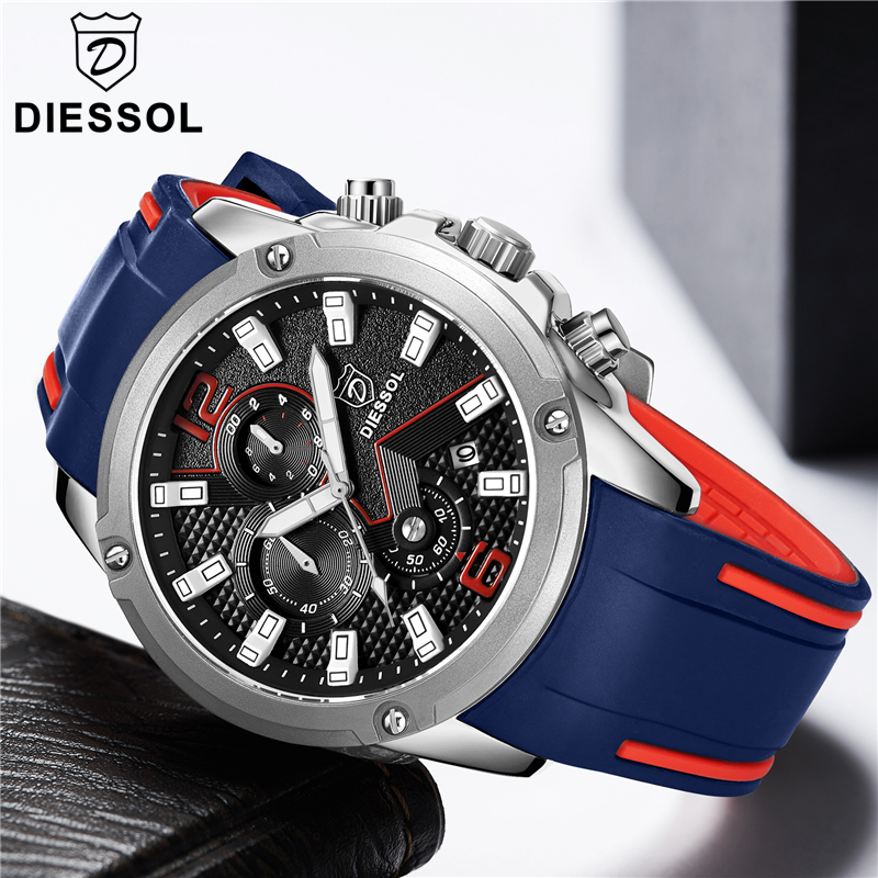 DIESSOL Men s Fashion Chronograph Sport Quartz Watch Mens Watches Top Brand Luxury Rubber Band Business