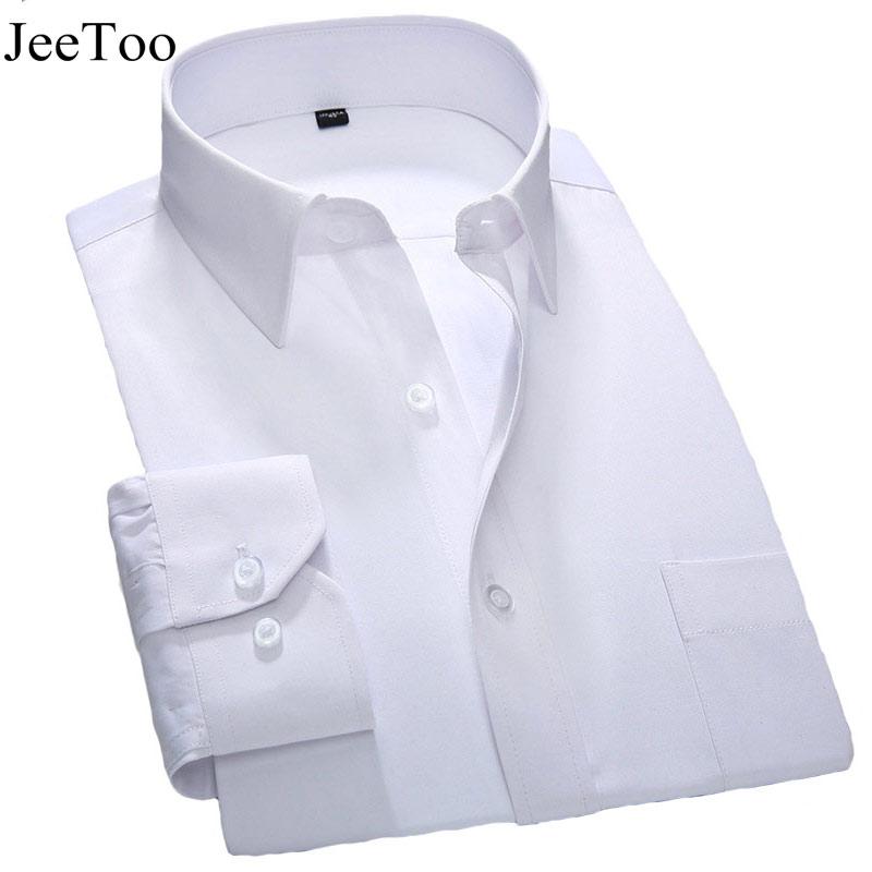 Новое Прибытие 2017 Мужские Белые Рубашки С Длинным Рукавом Формальные Мужчины Рубашки платья Бизнес Социальная Мужские Рубашки Плюс Размер 5XL Сорочка Homme