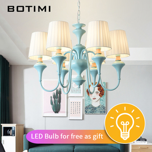 Image 2 - BOTIMI Nordic LED Chandelier With Fabric Lampshade For Living Room Blue Chandeliers Lighting Modern White Hanging Light Bedroom
