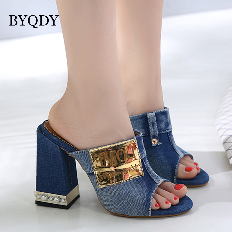 BYQDY Women Sandals Designer Denim Peep Toe High Heels Open Pearl Thick Heel Mules Sides Pumps Valentine Love Shoes