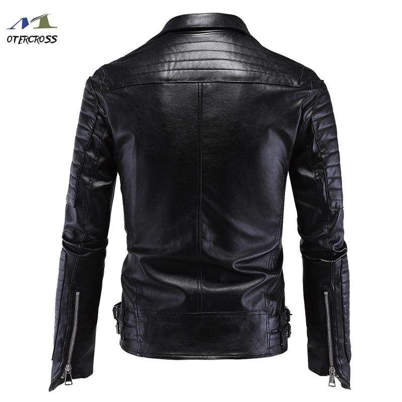 Veste de Moto en cuir PU hommes Vintage rétro Moto Faux Punk vestes en cuir Moto vêtements manteaux Slim Fit taille M-5XL - 2