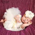 Photography outfits 0-3 month newborn props baby girl white  floral headband+tutu skirt princess costume baby shower gift new